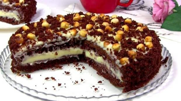 Торт на кефире Фантазия. Нежное лакомство на заварном креме 4