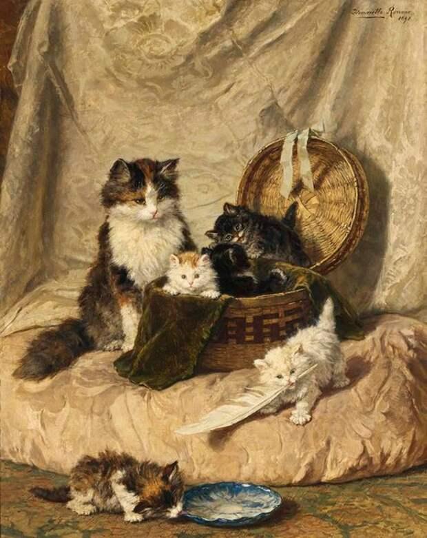 Играющие котята. 1898. Холст, масло. 91 х 73 см. В 2006 году на аукционе «Сотби» картина продана за 429 тысяч долларов.