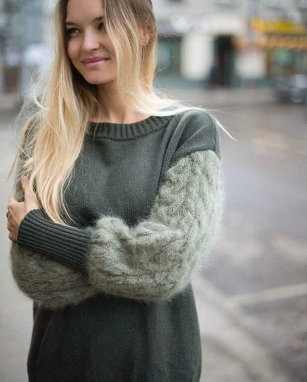 Вязаные свитера с оригинальными рукавами - изюминка зимней моды 2019