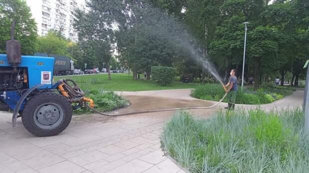 В Отрадном начали поливать цветники и газоны