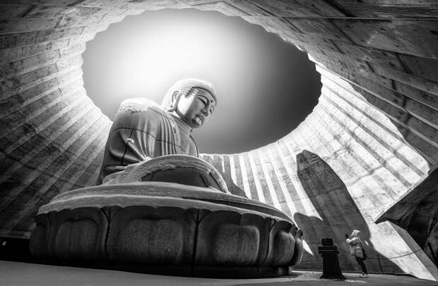 На кладбище Макоманай-Такино на севере Японии находится необычный храм. От остальных его отличает то, что голова статуи Будды виднеется из отверстия в центре лавандового холма, а чтобы попасть к основанию монумента, необходимо пройти по туннелю