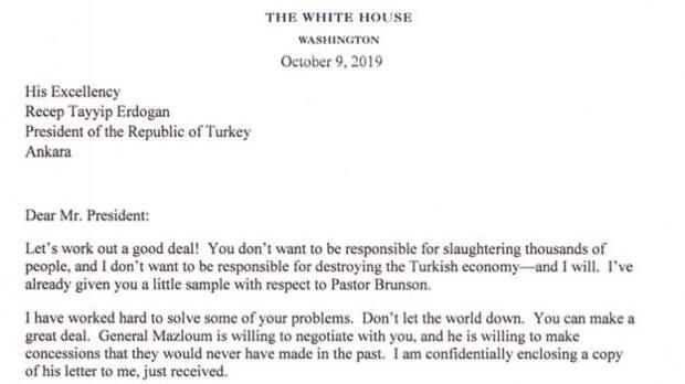 "Эрдоган выкинул письмо президента США. Трамп писал ему: ""Не будь дураком!"""