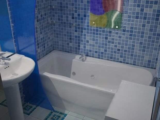 Отделка стен ванной с помощью мозаичных листов.