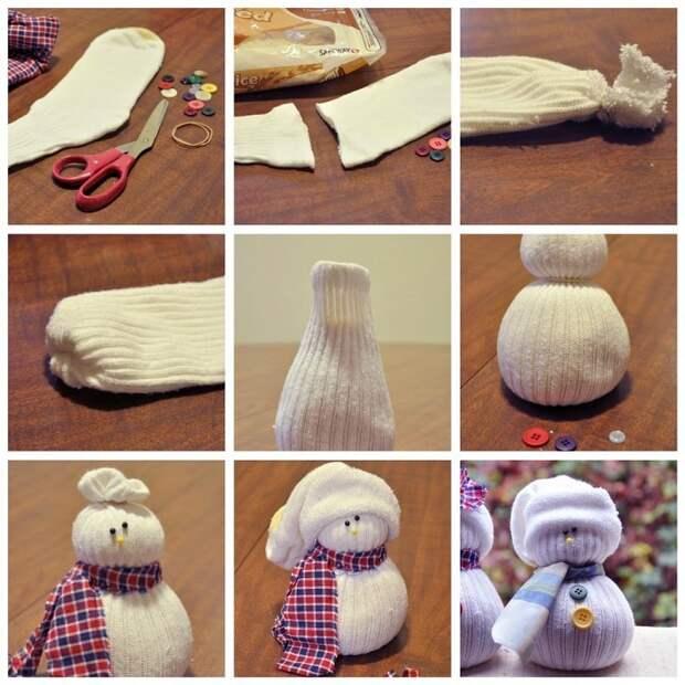 Снеговики из носков легко и просто