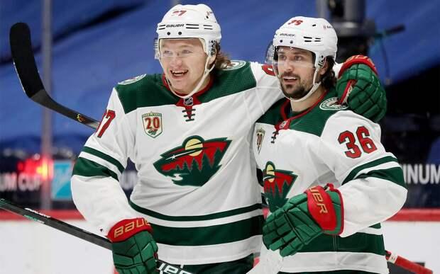 Капризов признан первой звездой дня в НХЛ. Российский форвард оформил хет-трик за 14 минут