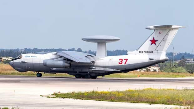 Самолет дальнего радиолокационного обнаружения и управления А-50 на российской авиабазе Хмеймим
