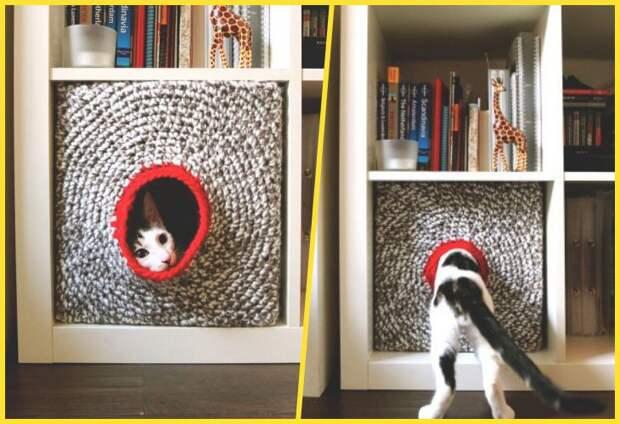 Вязаный кошачий домик из ikea