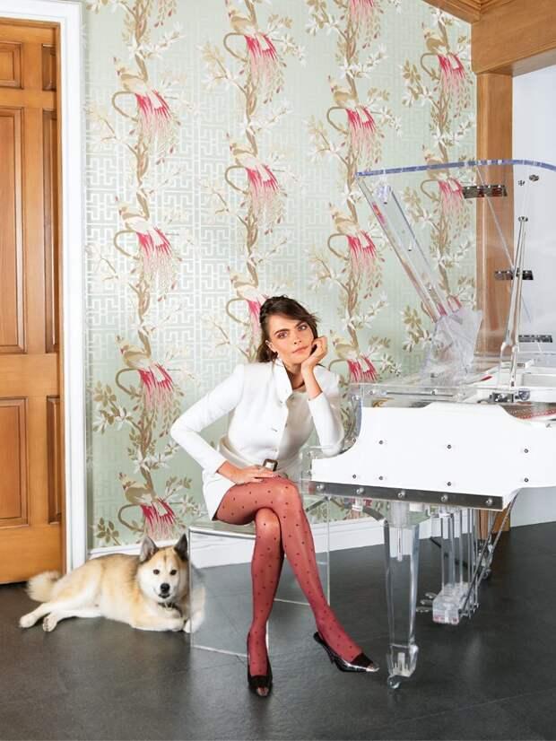 Прозрачный рояль, старинный игровой автомат и «тоннель вагины» — Кара Делевинь провела рум-тур по своему дому