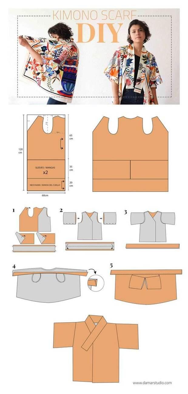 выкройка блузки кимоно