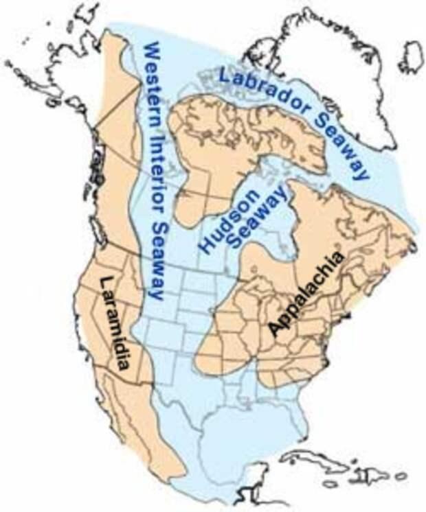 Западный внутренний морской путь в Северной Америке, каким он, вероятно, выглядел в меловой период 91 миллион лет назад, и где когда-то правила акула Credotus. Изображение взято с Викимедиа .