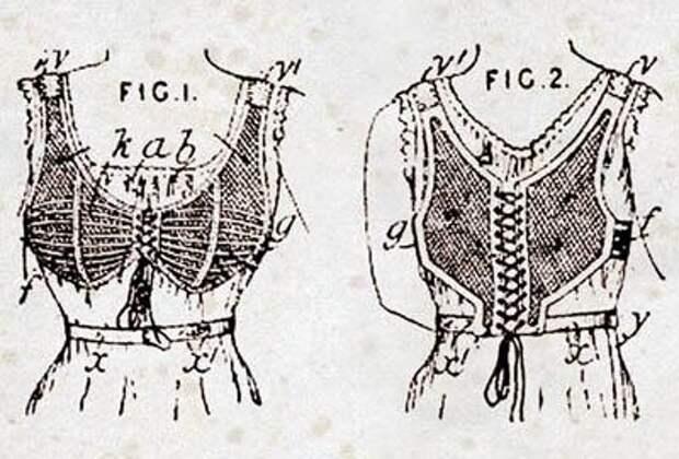 Первый бюстгальтер был запатентован во Франции в 1889 г. владелицей корсетной мастерской Эрмини Кадоль (Herminie Cadolle).