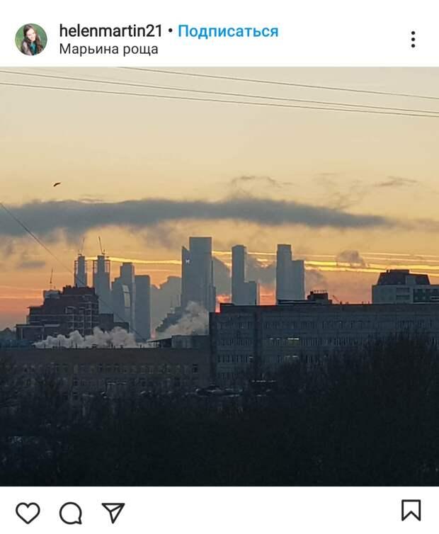 Фото дня: из Марьиной рощи открывается вид на небоскребы  Москва-Сити