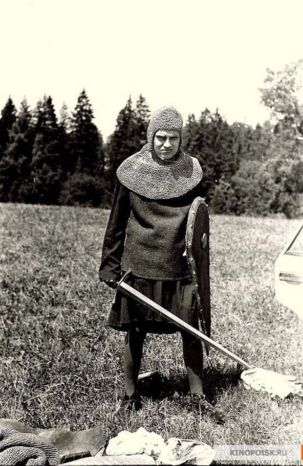 """На съёмках фильма """"Стрелы Робин Гуда"""", 1975 год."""