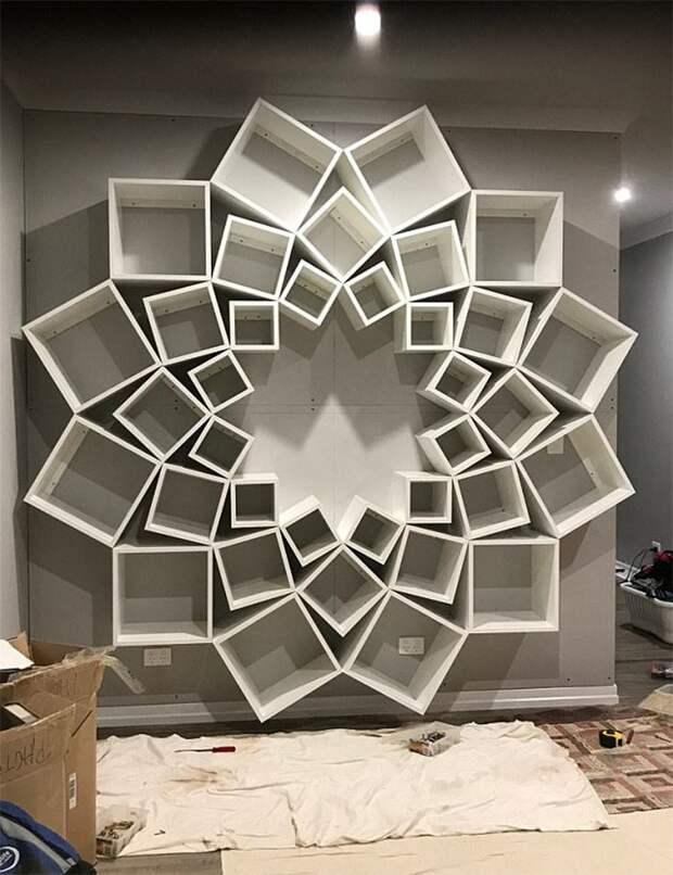 MDF-плиту прикрепили к стене. В итоге вся конструкция выглядит вот так книжная полка, мебель, мебель для гостиных, полки, самоделки, своими руками, сделай сам