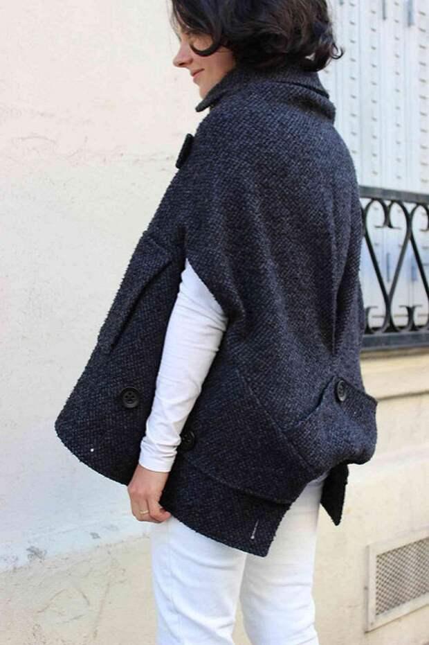 Переделка пальто в стильный кейп (DIY)