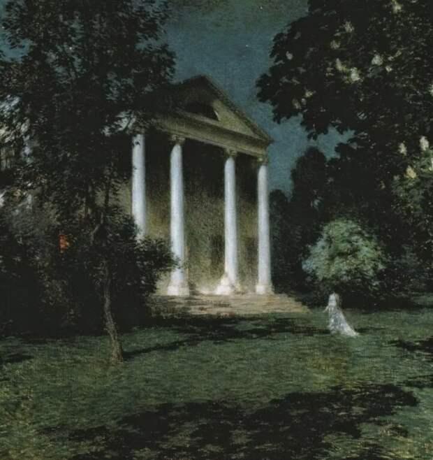 Летний сад ночью, изображение из открытых источников