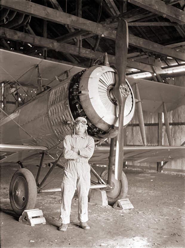 Japanese Biplane & Pilot - 1930s