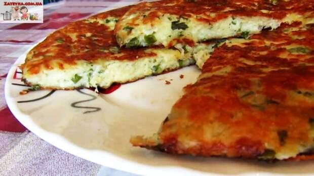 Сырная лепешка на сметане с зеленью