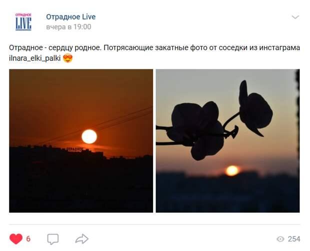 Фото дня: оттенки заката в Отрадном