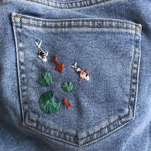 Вышивка джинсов