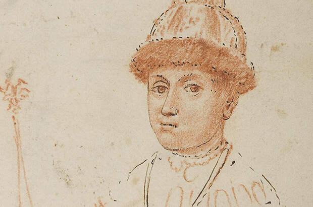 Портрет царя Федора Алексеевича с державой и скипетром.