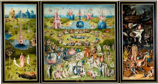 Сад земных наслаждений - самая известная работа Босха, алтарный триптих, створки которого олицетворяют эпоху создания человечества и ад, а центральная часть построена на библейских мотивах.