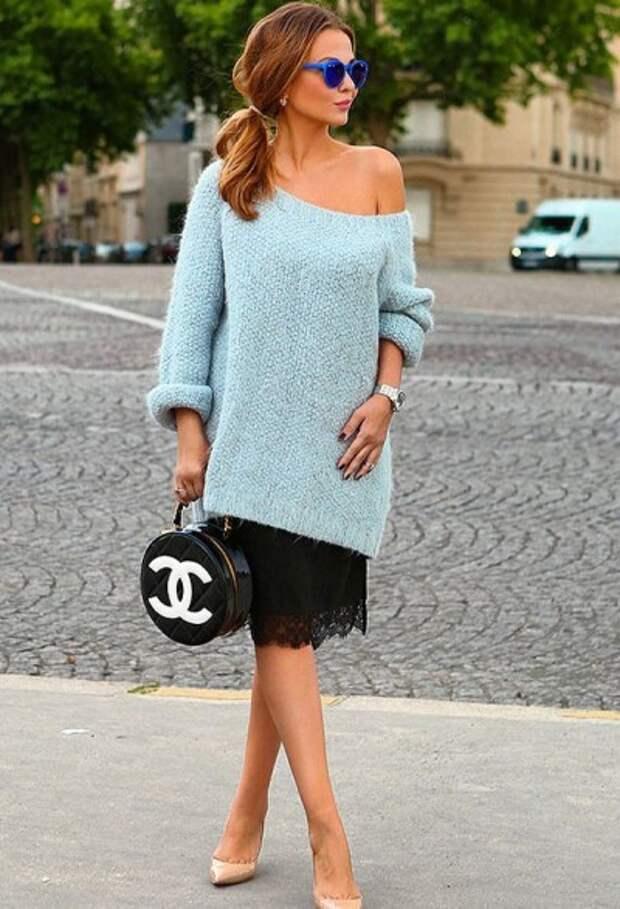 комплект с платьем-комбинацией и длинным свитером для 40-летней