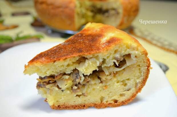 Творожный пирог с мясом и капустой