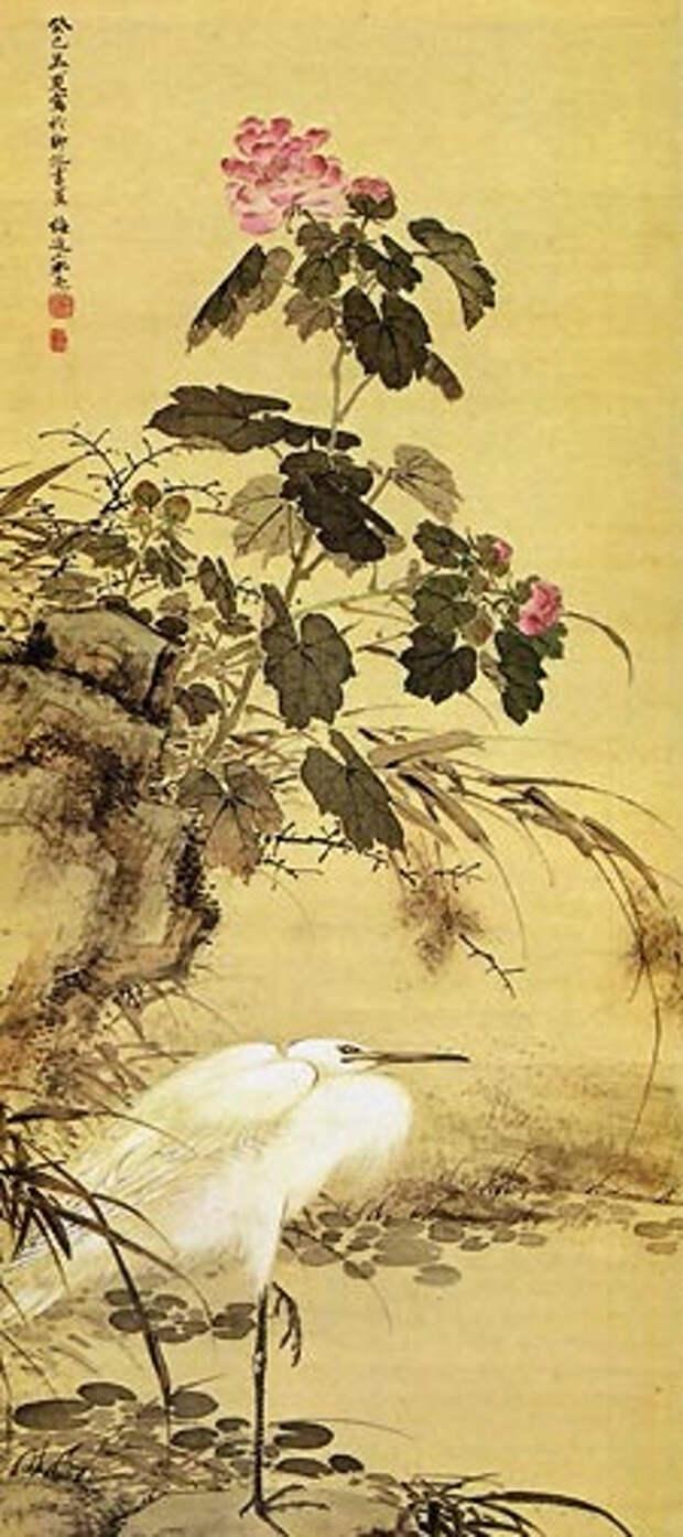 Egret and mallow plants (225x506, 150Kb)