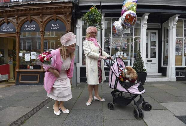 Royal fans with a dog in a buggy gather to celebrate Queen Elizabeth's 90th birthday in Windsor