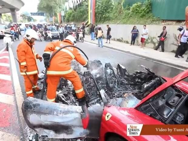 Очередное самовозгорание Ferrari произошло в Малайзии