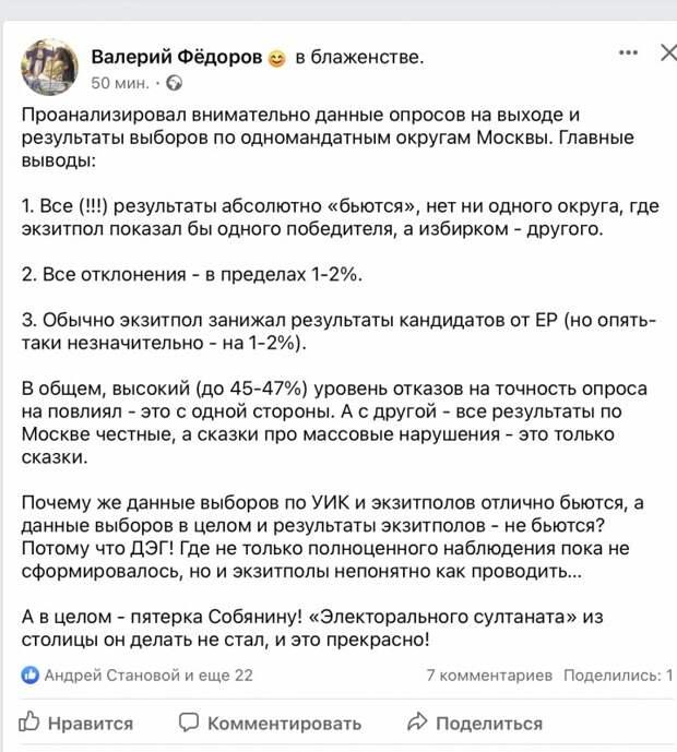 Анализ опросов и результатов выборов по одномандатным округам Москвы