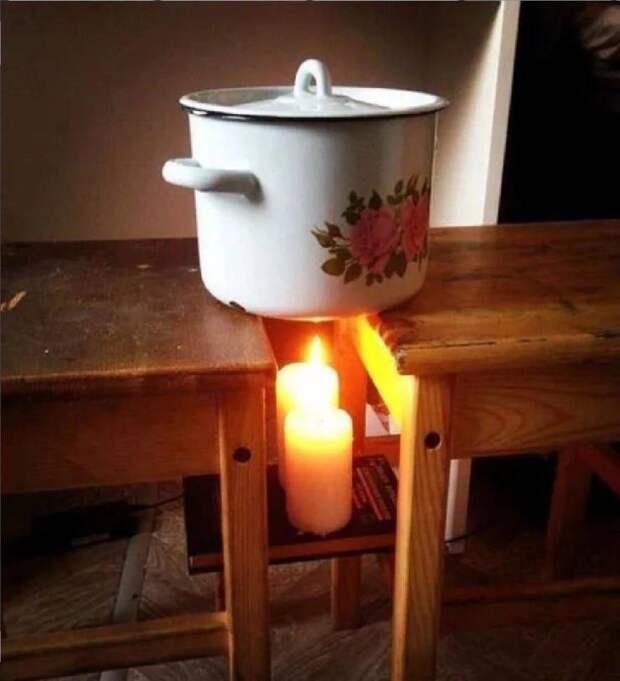 Разогреть воду на свечах