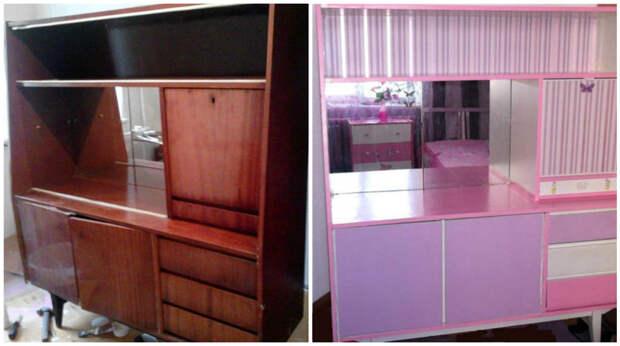 Делаете комнату для девочки в розовом цвете? Бабушкин сервант как раз кстати! мебель, новая жизнь, переделка, старье