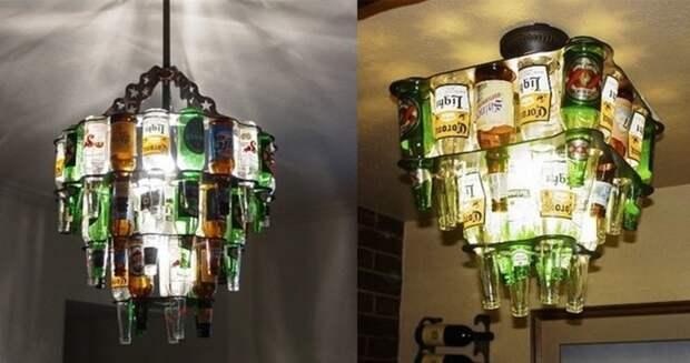 Люстра из пивных бутылок дача, идеи для дачи, мужская пещера, сделай сам