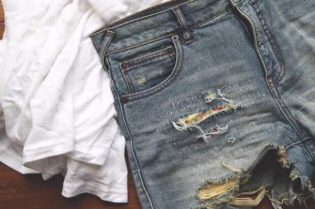 Переделка джинсовых шорт (3+3DIY)