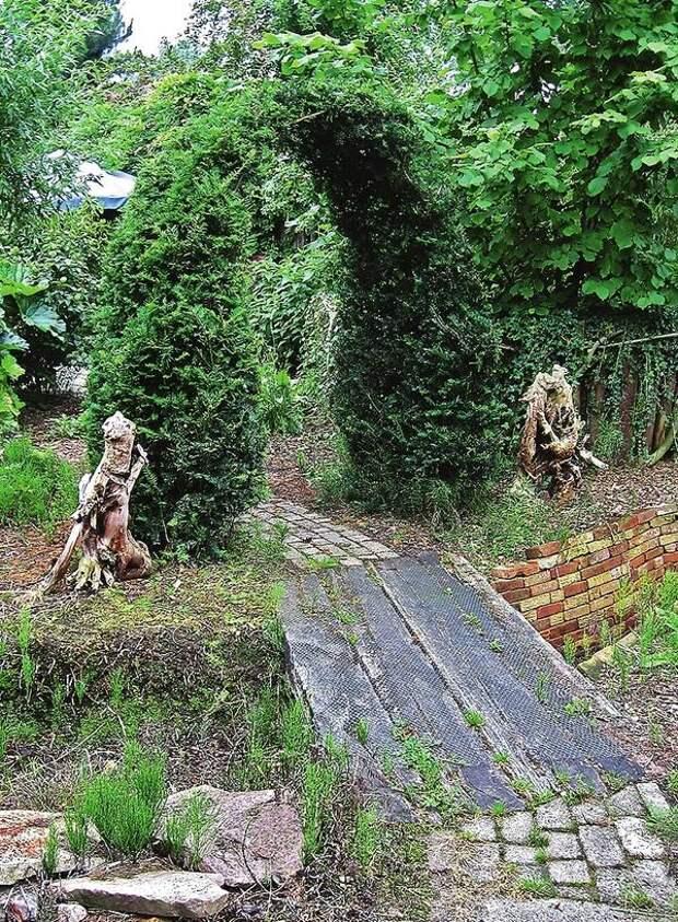 Живописные коряги, как часовые, стоят по обе стороны садовой дорожки. Оригинальное решение!