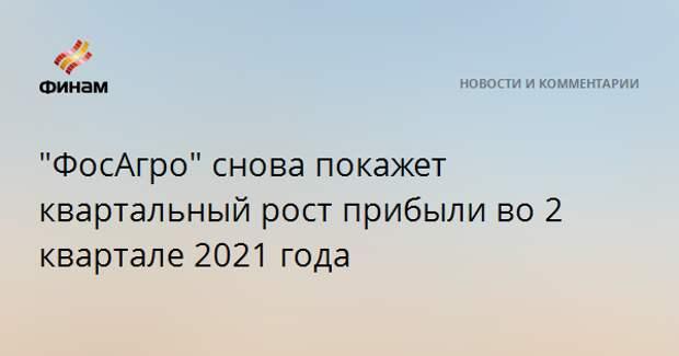 """""""ФосАгро"""" снова покажет квартальный рост прибыли во 2 квартале 2021 года"""