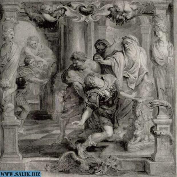 Парис убивает Ахиллеса в пятку.