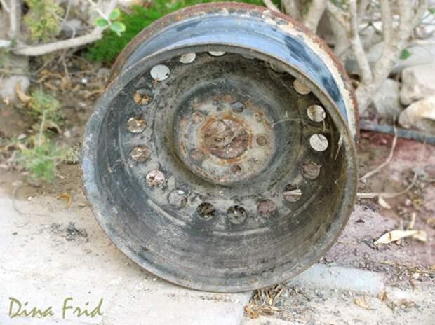 Цветочный горшок из обода колеса (Diy)