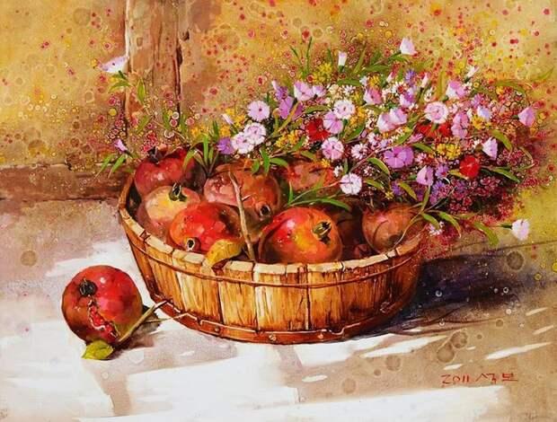 Корейский художник Yi Seong-bu. Натюрморт с цветами. Картина четырнадцатая