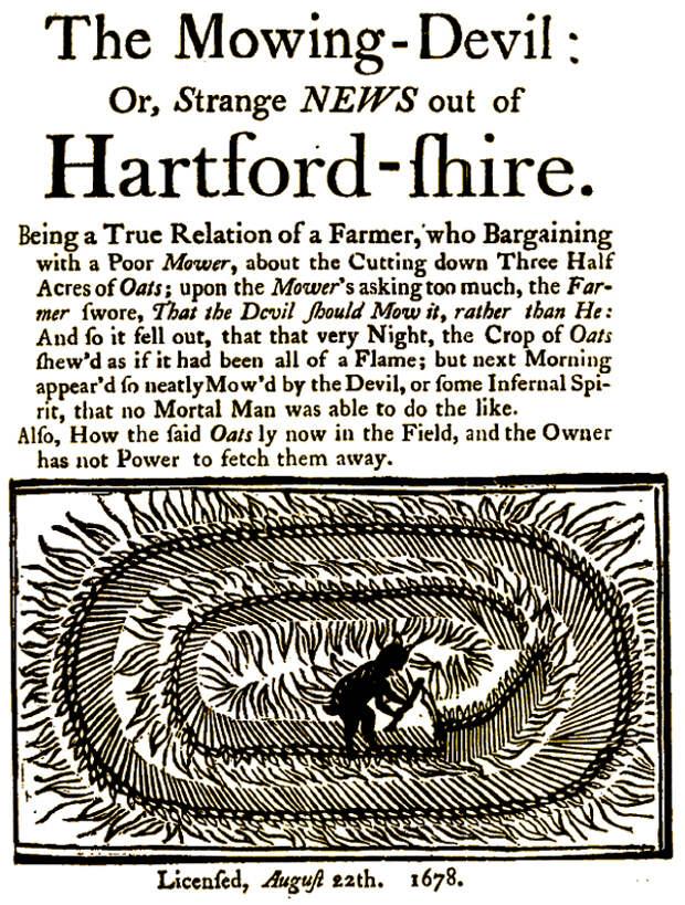 Брошюра «The Mowing-Devil» («Дьявол-косарь»), 1678 г.