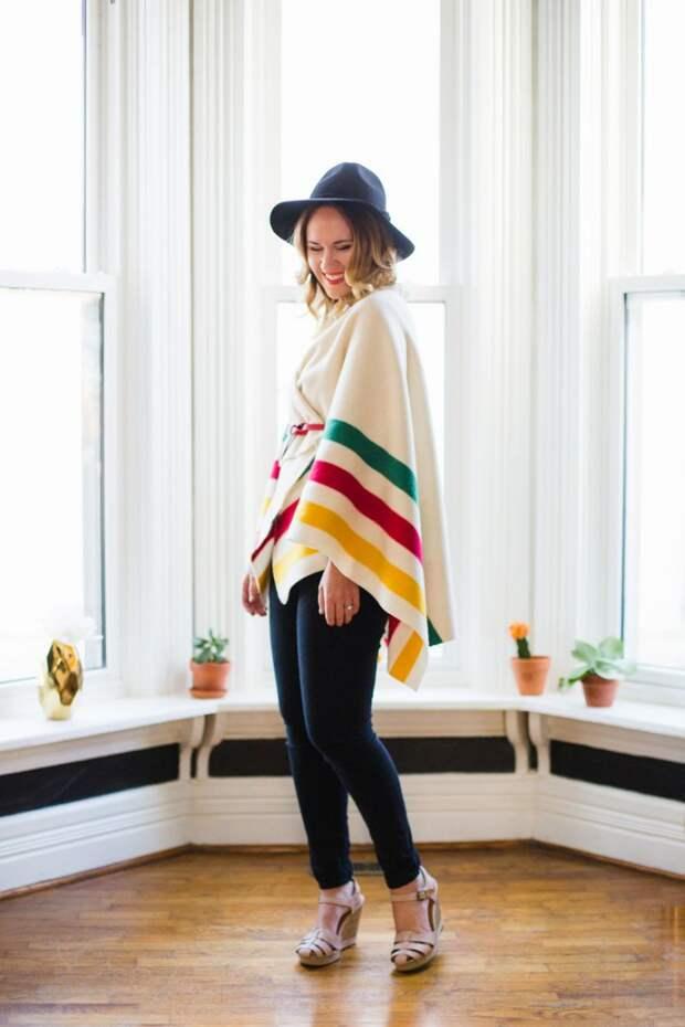 Пальто-накидка из одеяла (Diy)
