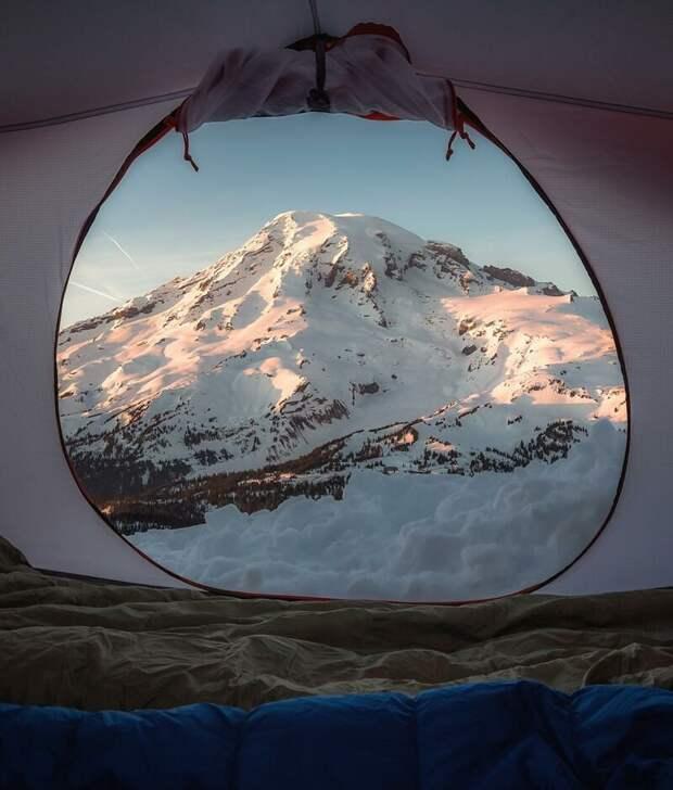 Гора Райнир (штат Вашингтон, США). альпинизм, горы, зима, палатка, пейзаж, рассвет, снег, туризм