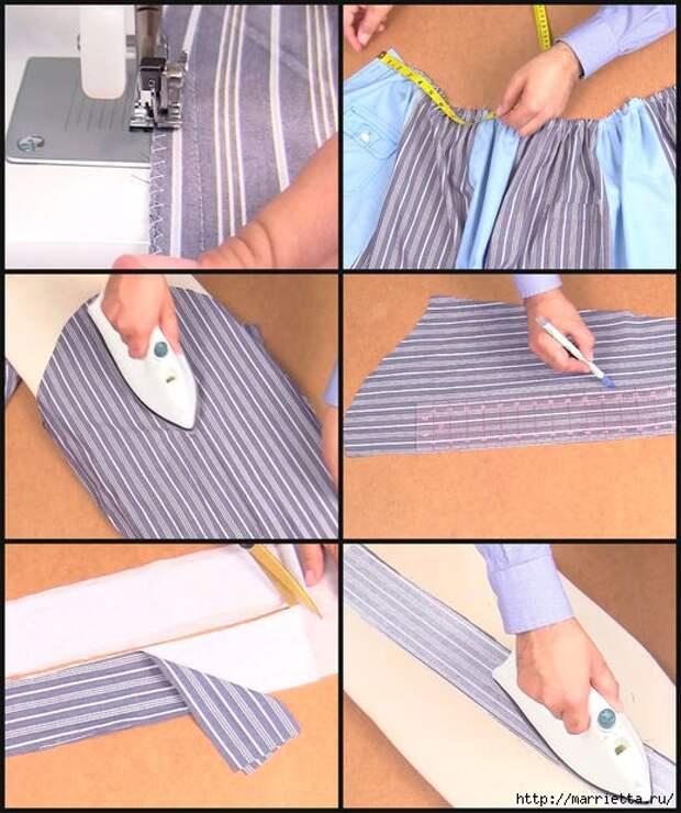 Юбка с карманами из двух мужских рубашек. Видео мастер-класс (7) (519x620, 214Kb)
