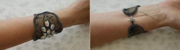 Кружевной браслет с вышивкой из бисера подчеркнёт красоту любой девушки