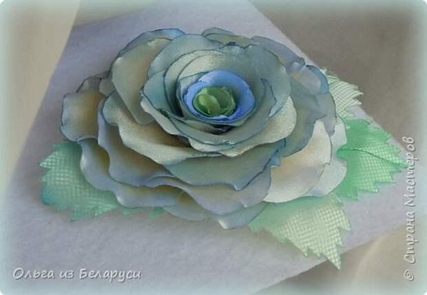 Мастер-класс Флористика искусственная Моделирование конструирование МК листка розы из фатина+роза из фатина Ленты фото 17