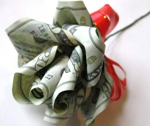 Оригами из денег - роза