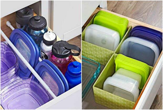 Хранение пластиковых контейнеров и крышек.