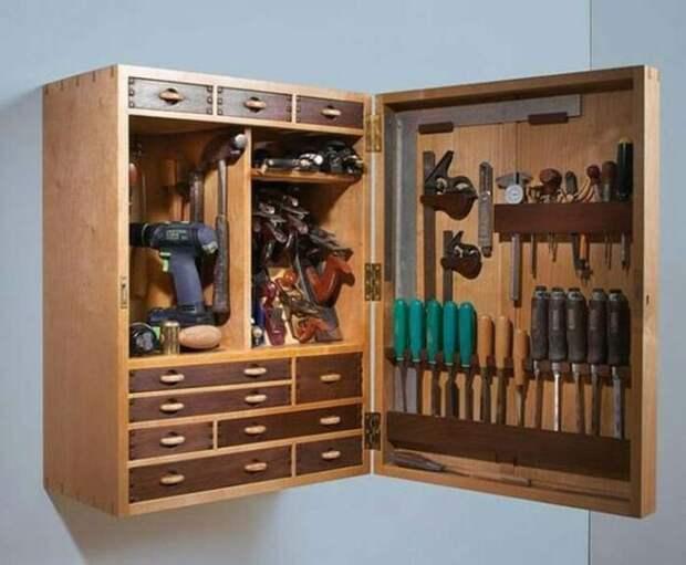 Удобное решение для хранения сразу всех инструментов. /Фото: i.pinimg.com